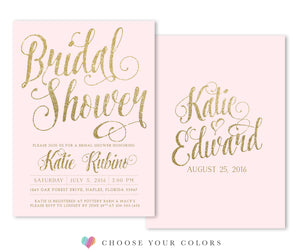 Ava: Bridal Shower Invitation. Gold Glitter & Blush Pink