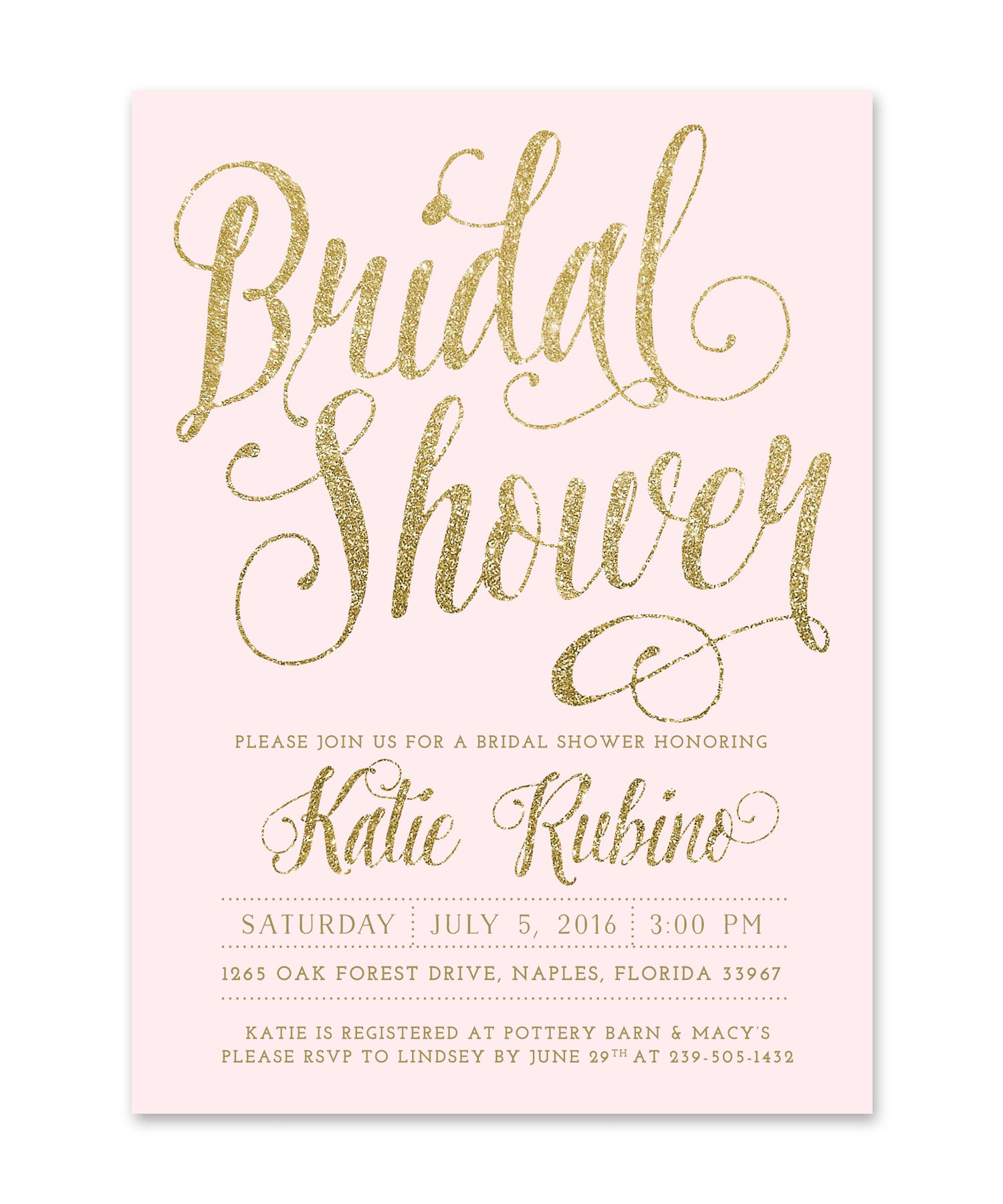 ava bridal shower invitation gold glitter blush pink