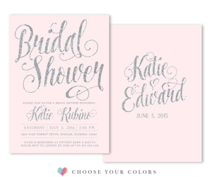 Ava: Bridal Shower Invitation. Silver Glitter & Blush Pink Invite