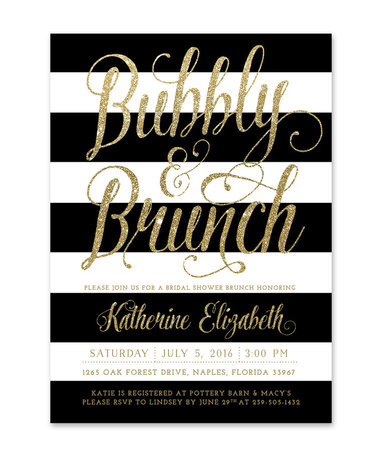 Ava: Bubbly & Brunch Bridal Shower Invitation, Black & White Stripes, Gold Glitter