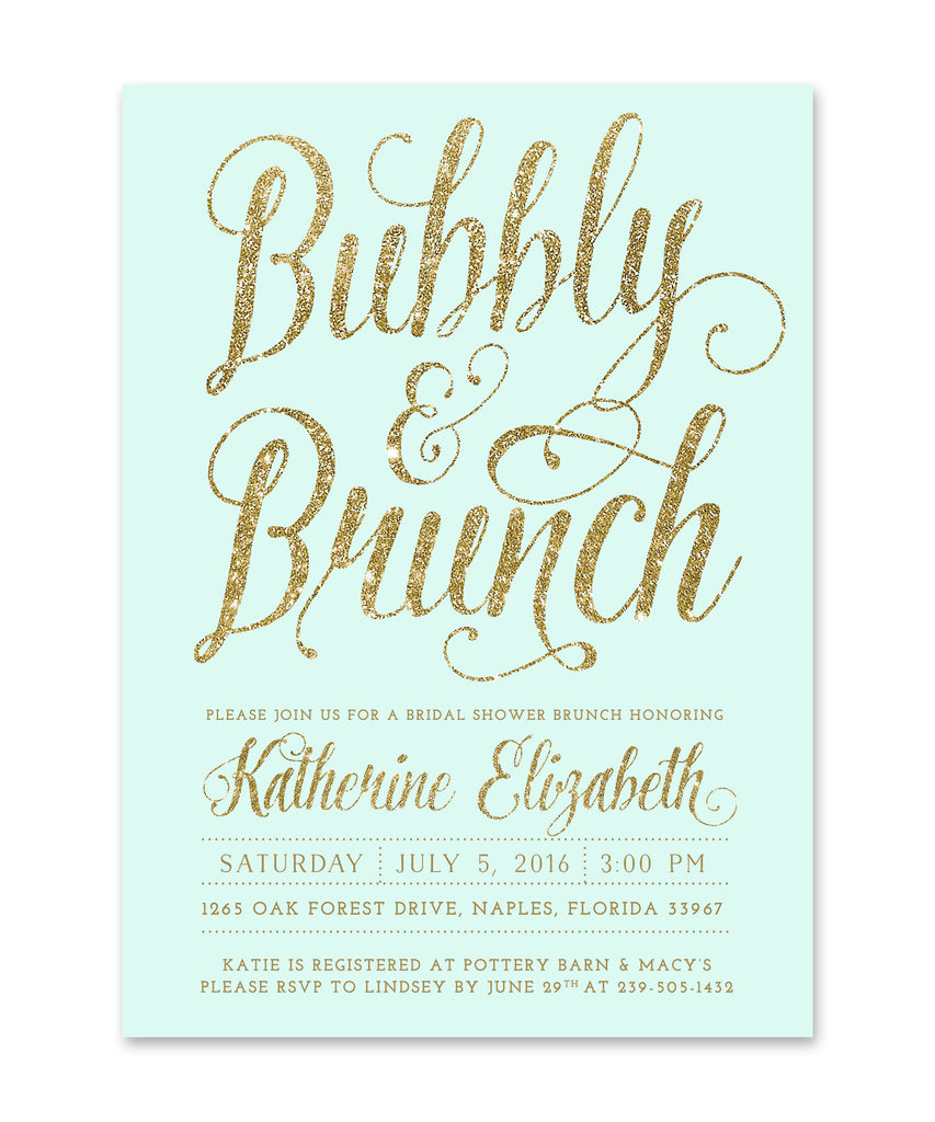Ava: Bubbly & Brunch Bridal Shower Invitation Mint & Gold Invite