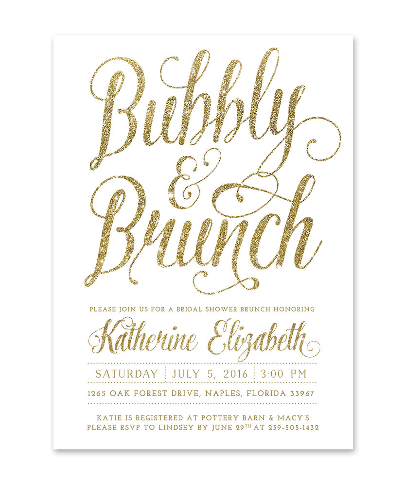 Ava: Bubbly & Brunch Bridal Shower Invitation, White, Gold Glitter Calligraphy