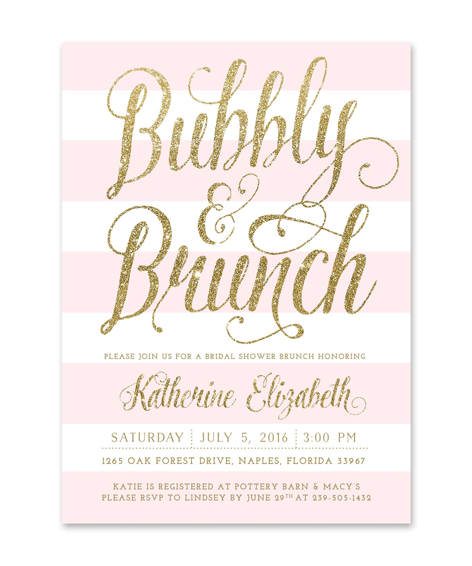 Ava Bubbly Brunch Bridal Shower Invitation Pink White Stripes