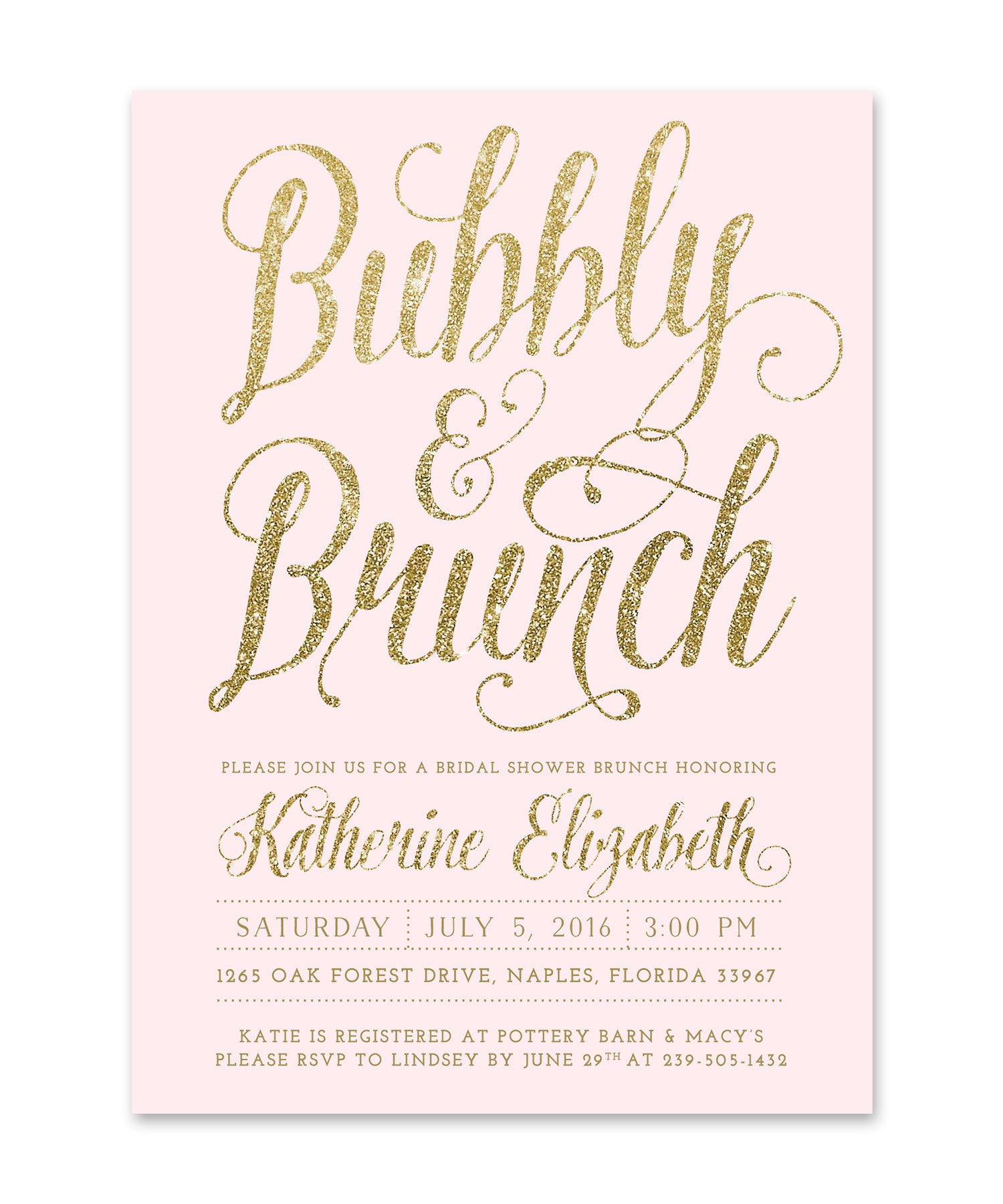 pink brunch and bubbly ava bridal shower invitation blush pink