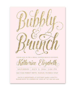 Brunch and Bubbly Bridal Shower Invitation, Blush Pink & Gold Glitter