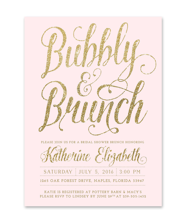 champagne bridal brunch invitations sea paper designs