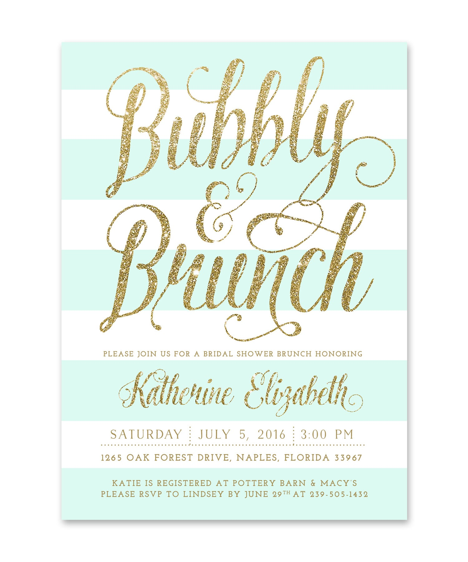 Ava: Bubbly & Brunch Bridal Shower Invitation Mint White Stripes ...
