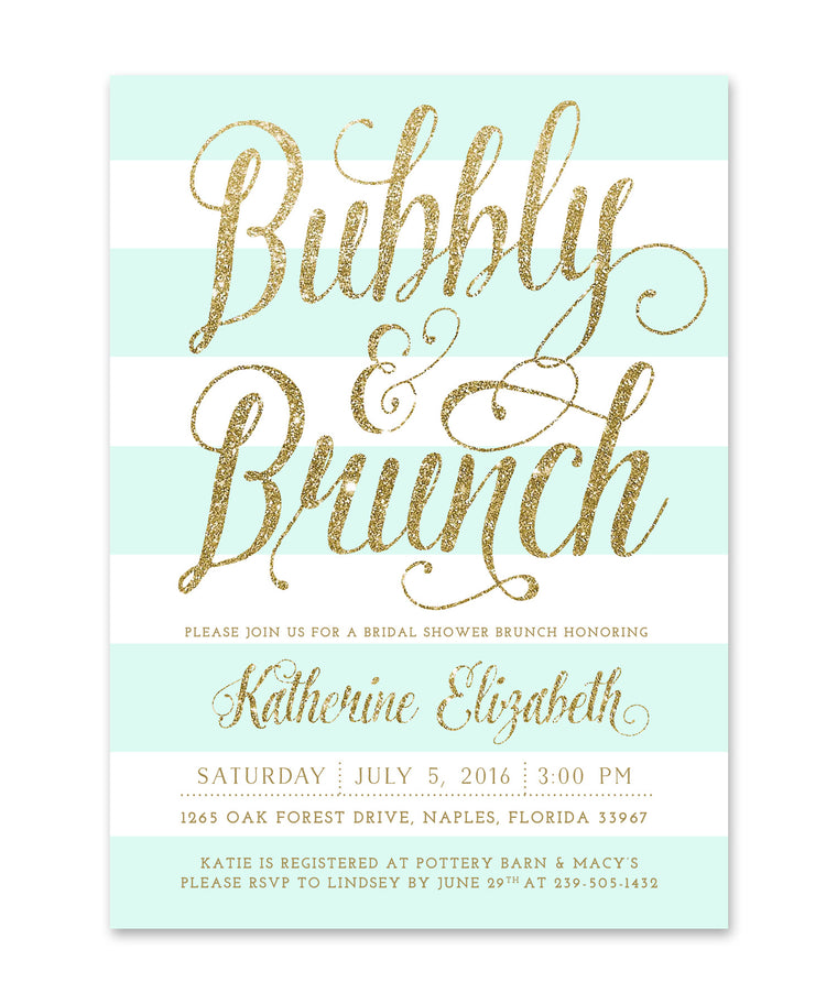 Ava: Bubbly & Brunch Bridal Shower Invitation Mint White Stripes & Gold Invite