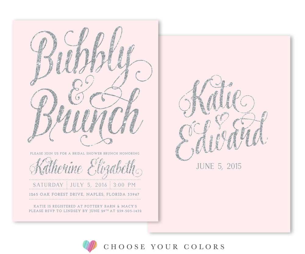 Ava: Bubbly & Brunch Bridal Shower Invitation, Blush Pink & Silver Glitter