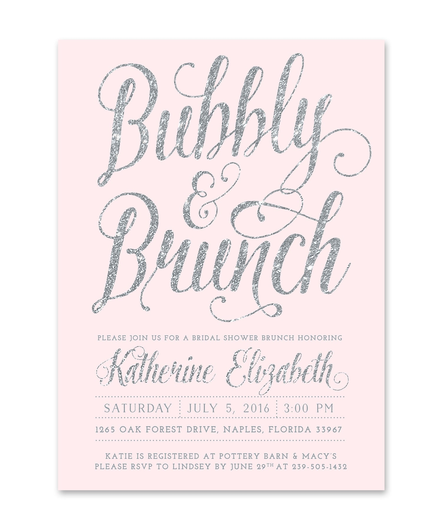 Ava: Bubbly & Brunch Bridal Shower Invitation, Silver & Blush Pink ...