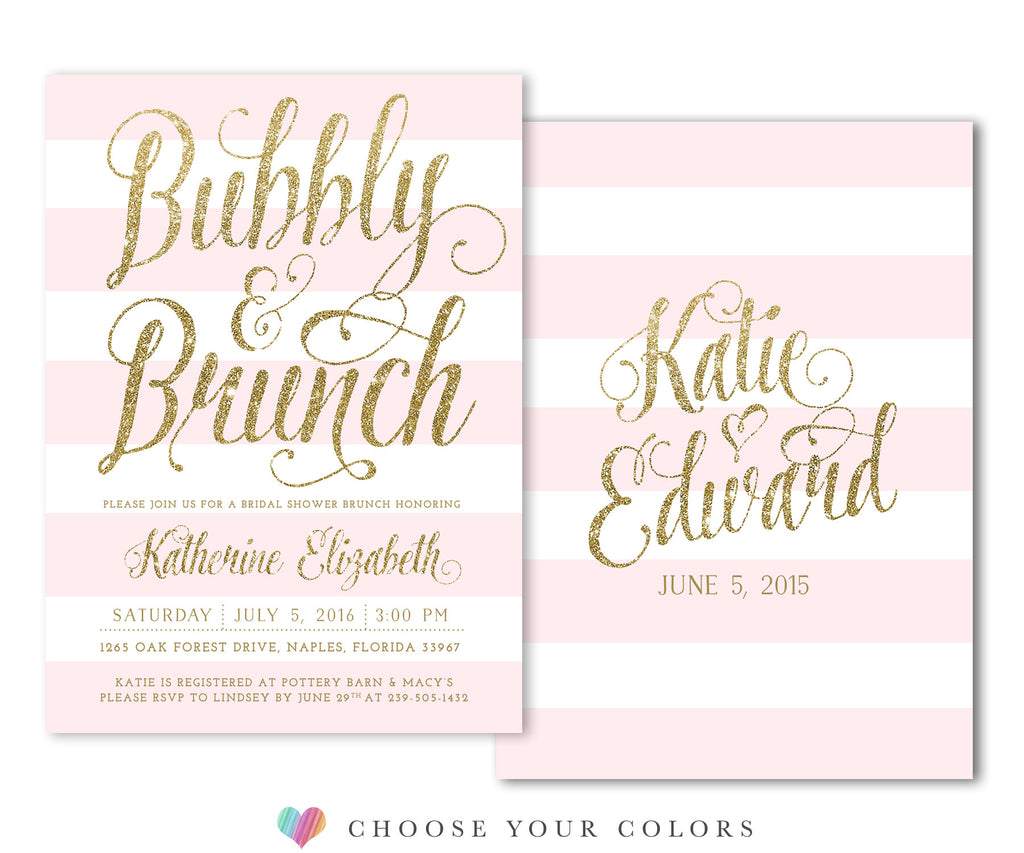Ava: Bubbly & Brunch Bridal Shower Invitation Pink & White Stripes, Gold