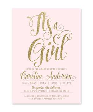 "Ava: Baby Shower Invitation ""It's a Girl"" Blush Pink & Gold Glitter"
