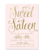 Ava: Sweet Sixteen Birthday Invitation {Gold}
