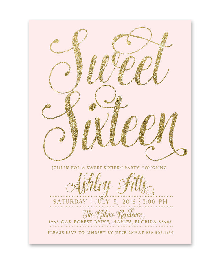 Ava: Sweet Sixteen Party Invitation Blush Pink & Gold Glitter