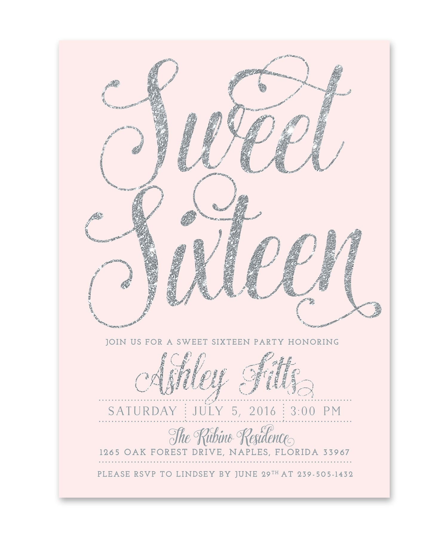 Ava Sweet Sixteen Party Invitation Blush Pink Silver Glitter