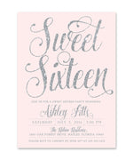 Ava: Sweet Sixteen Birthday Invitation {Silver}