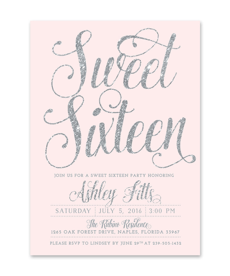 Ava: Sweet Sixteen Party Invitation Blush Pink & Silver Glitter