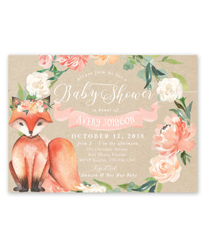 Avery: Fox Floral Baby Shower Invitation