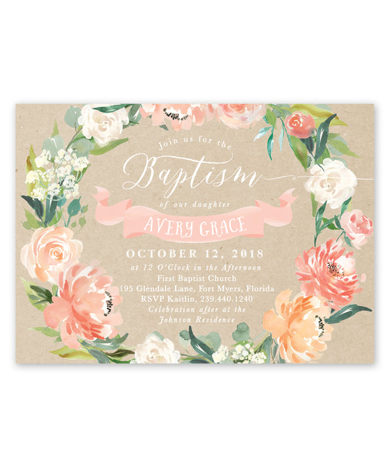 Avery: Floral Baptism Invitation