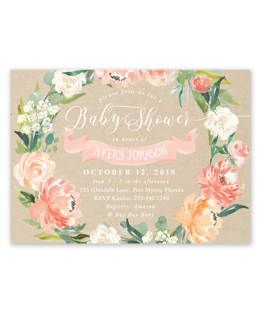 Avery: Floral Baby Shower Invitation