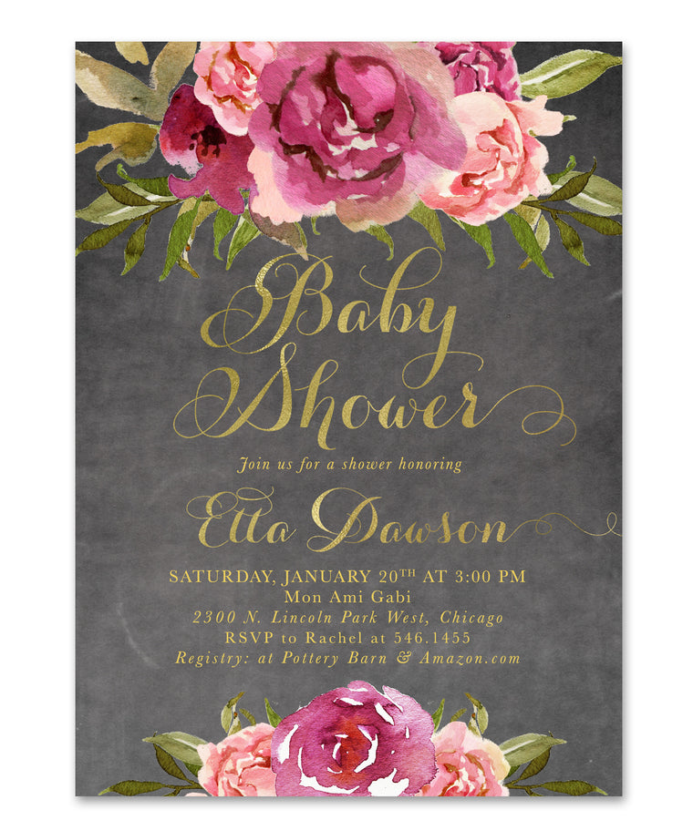Etta: Baby Shower Invitation {Merlot & Blush Pink & Gold Chalkboard Floral}
