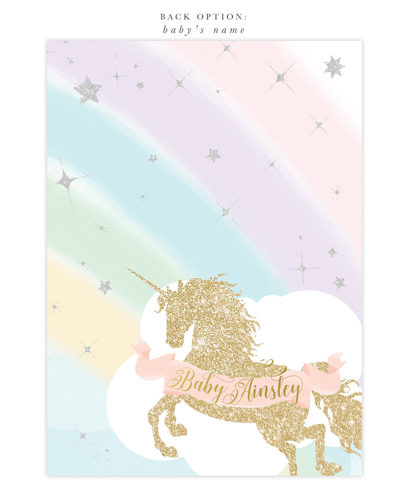 Leah: Unicorn It's a Girl Baby Shower Invitation