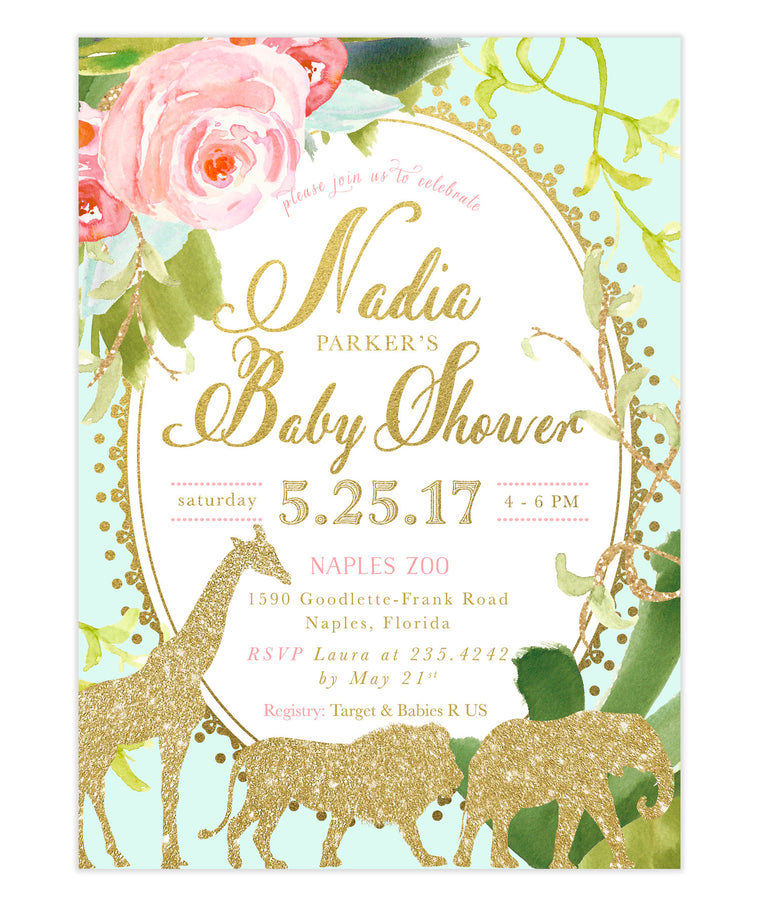 Glam Safari, Jungle Baby Shower Invitation, Girl or Boy, Mint Green, Gold Giraffe, Lion, Elephant & Zebras, Flowers, Tropical Leaves - Nadia