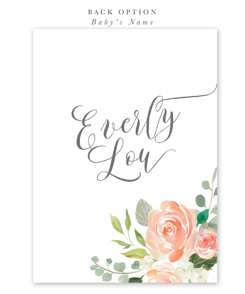 Elodie: Peach Floral Baby Shower Invitation
