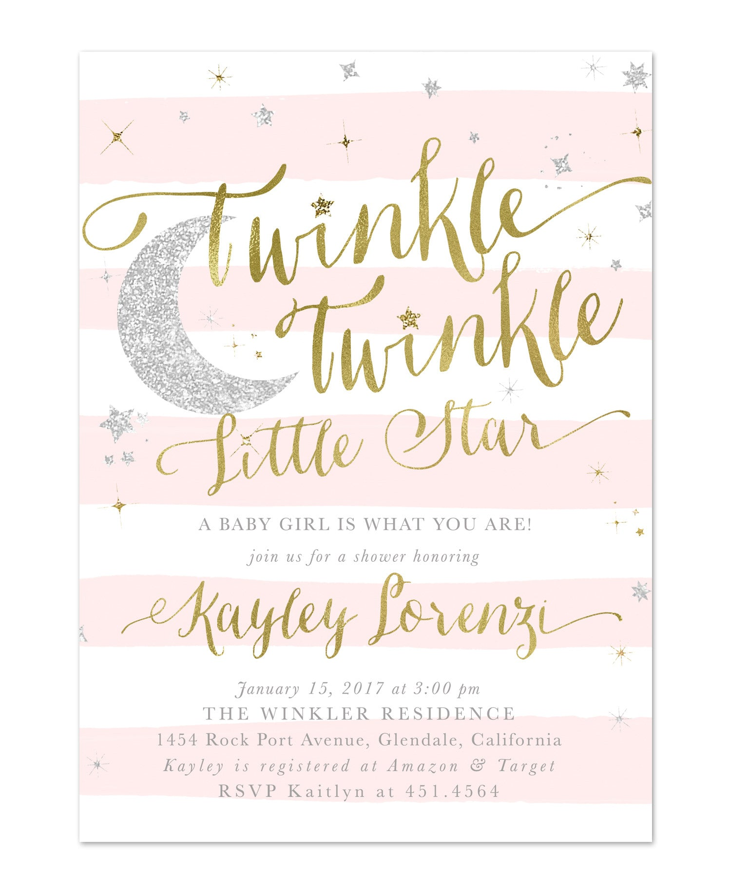 twinkle twinkle little star girl baby shower or sprinkle invitation