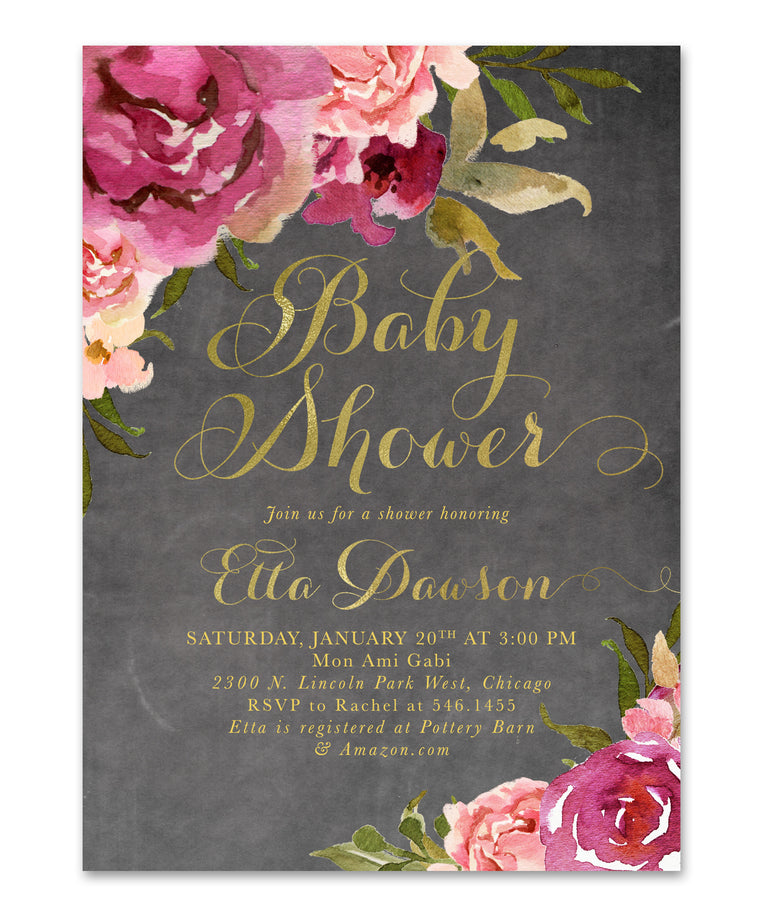 Etta: Baby Girl Shower Invitation {Burgundy & Blush Pink & Gold Chalkboard Floral}