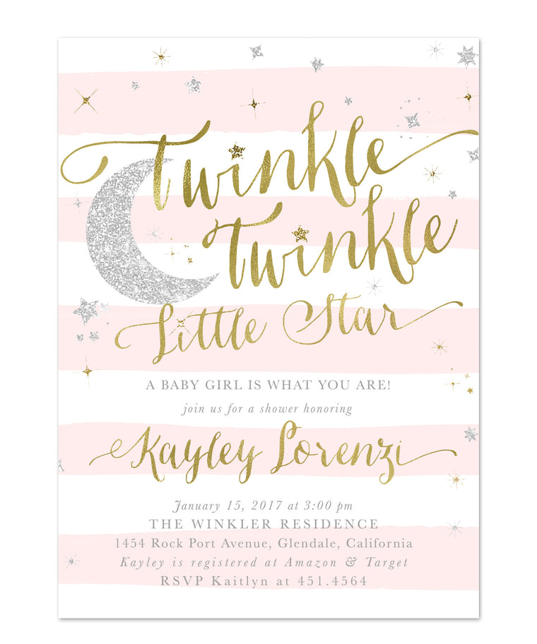 Twinkle Twinkle Little Star Girl Baby Shower Invitation {Pink Stripes}
