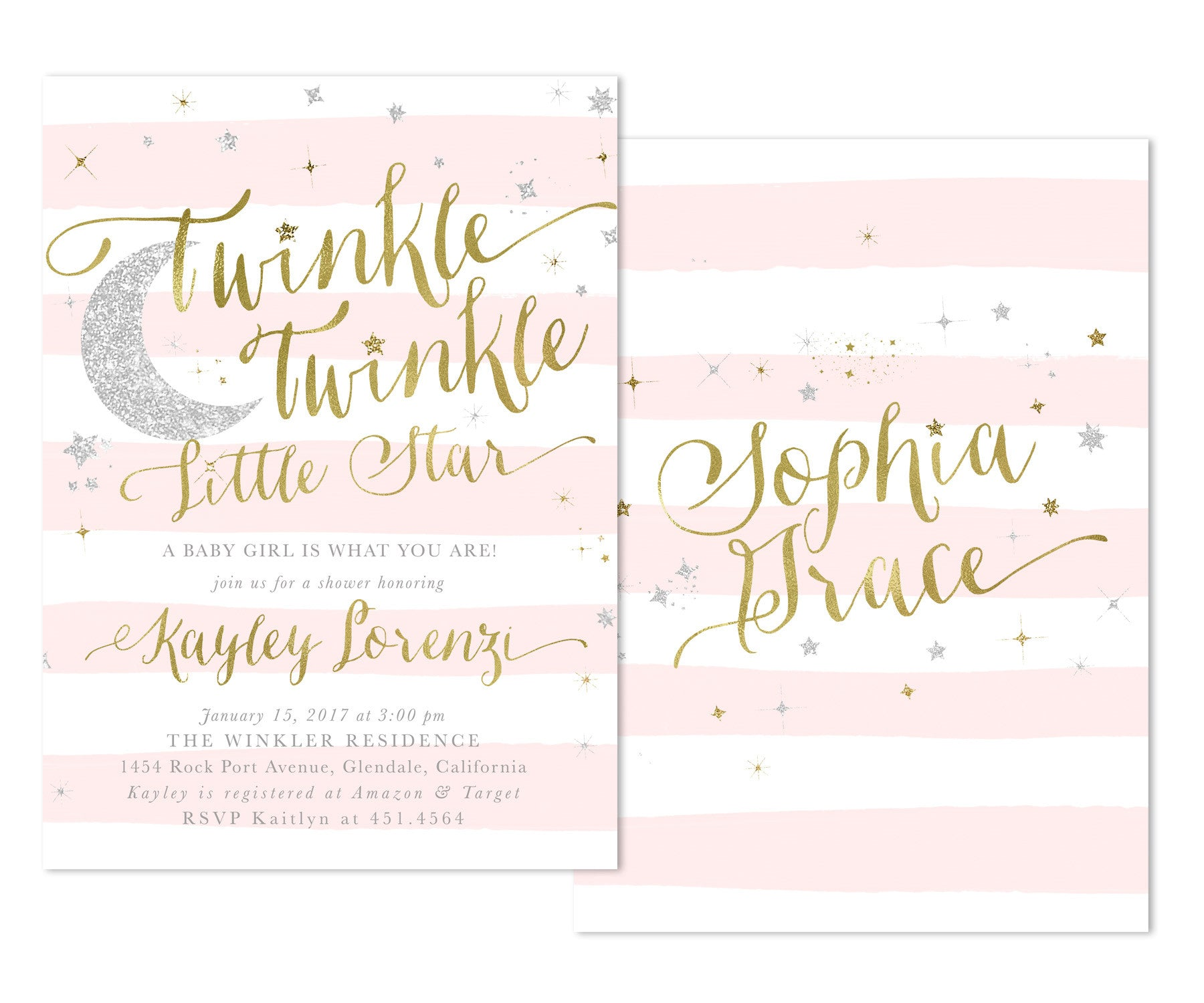 Captivating Twinkle Twinkle Little Star Girl Baby Shower Invitation {Pink Stripes}