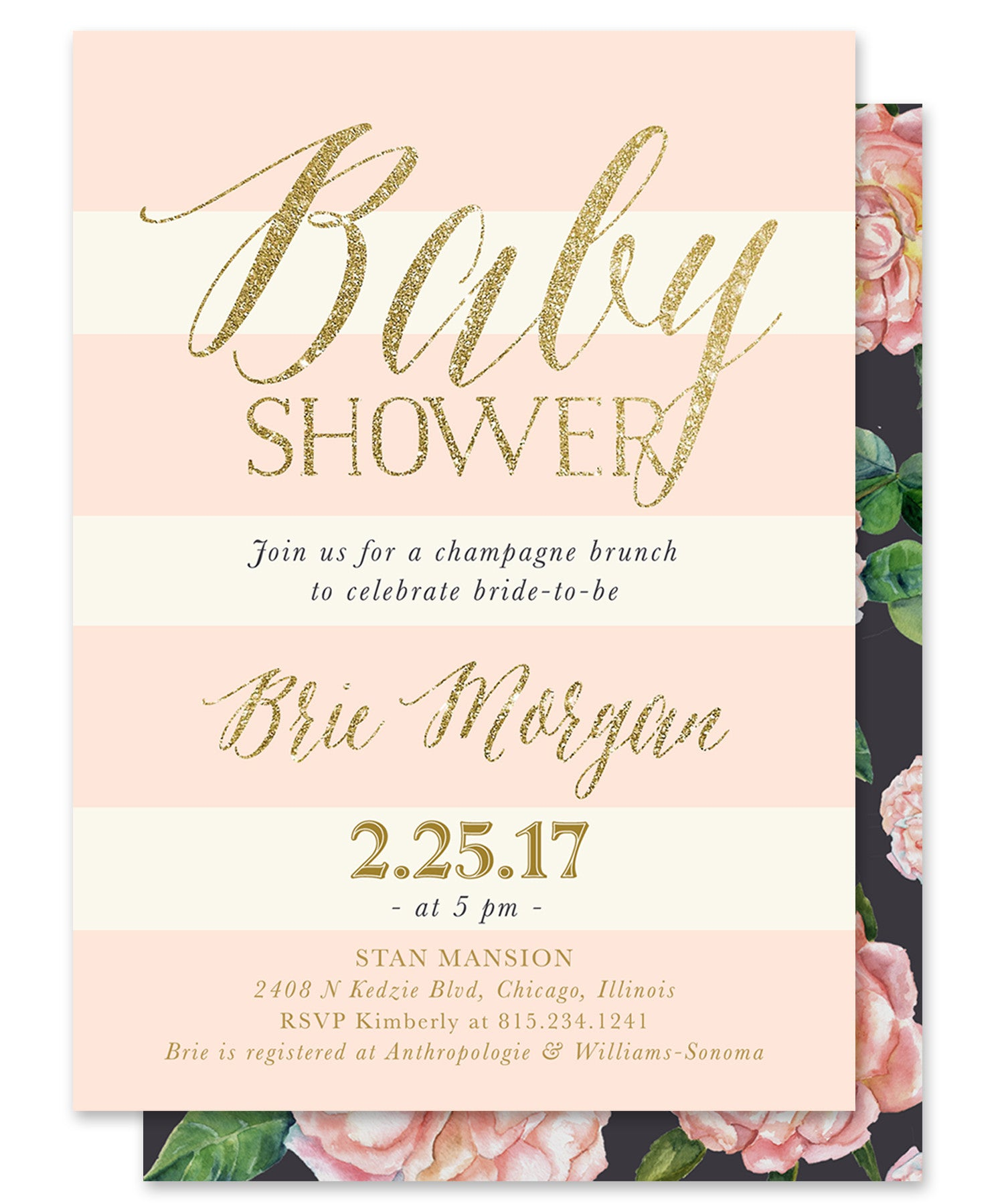 Brie: Baby Shower Invitation Blush Pink Roses, Charcoal Grey ...