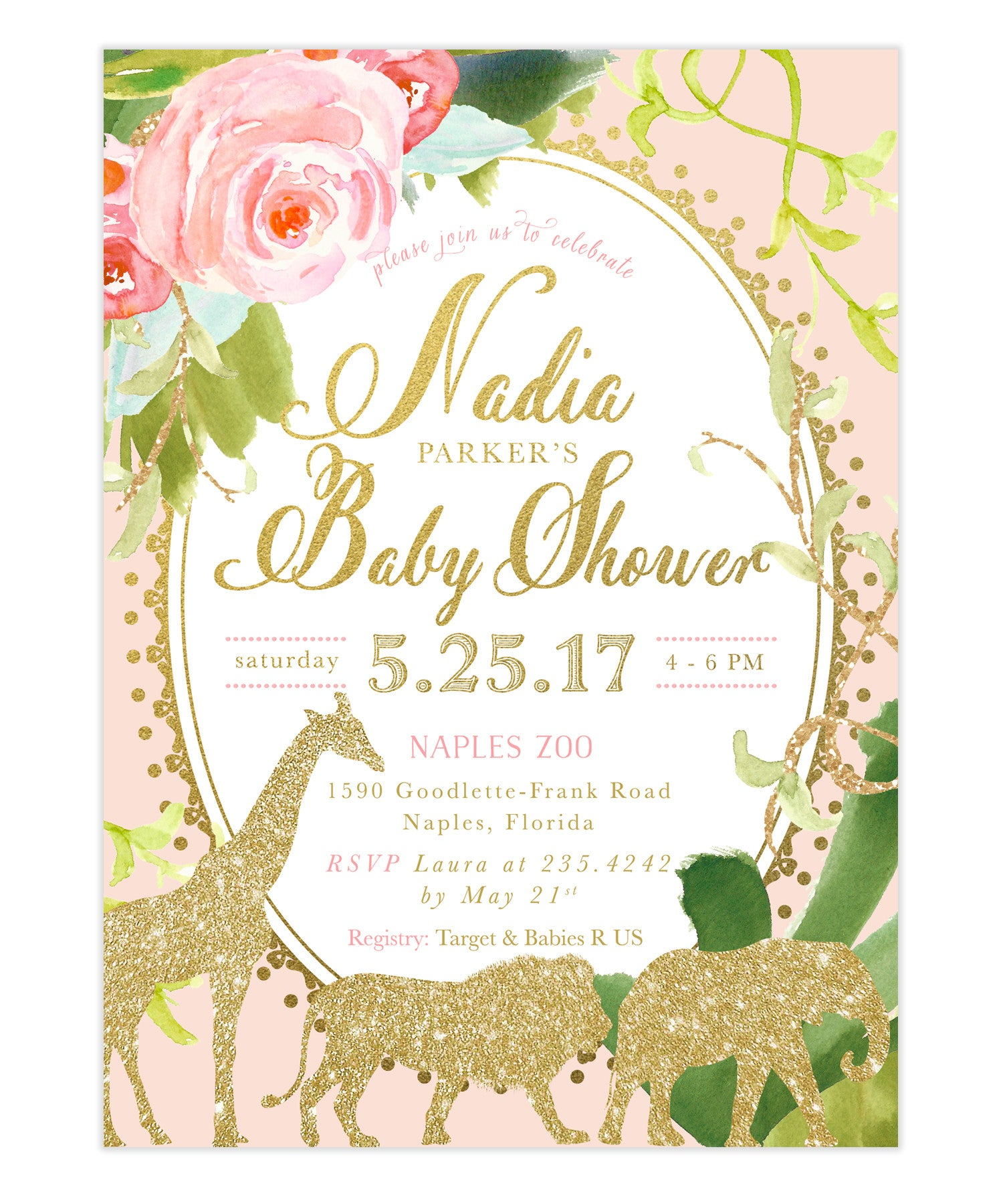Glam Safari Animal Girl Jungle Baby Shower Invitation Pink Nadia
