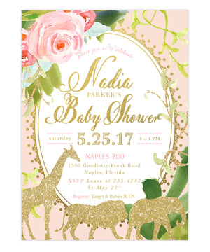 Glam Safari Animal Jungle: Girl Baby Shower Invitation {Pink}