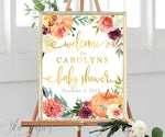 Fall Floral and Pumpkin Baby Shower Welcome Sign