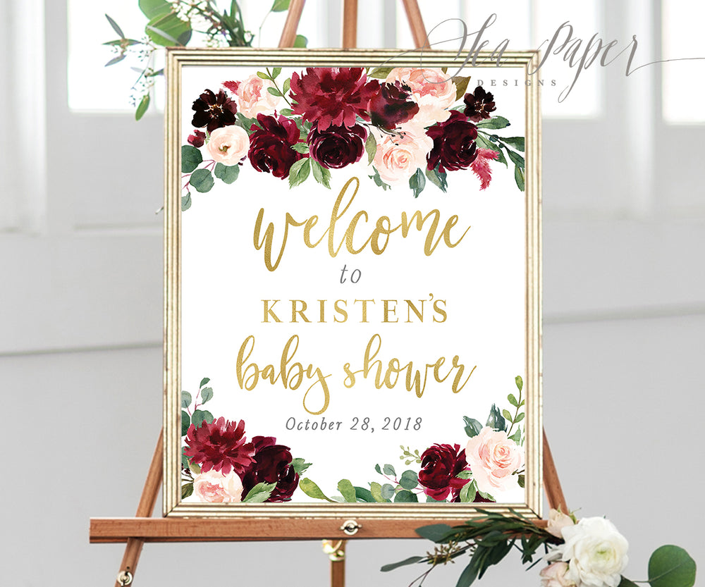 Kristen: Welcome Sign {Burgundy}