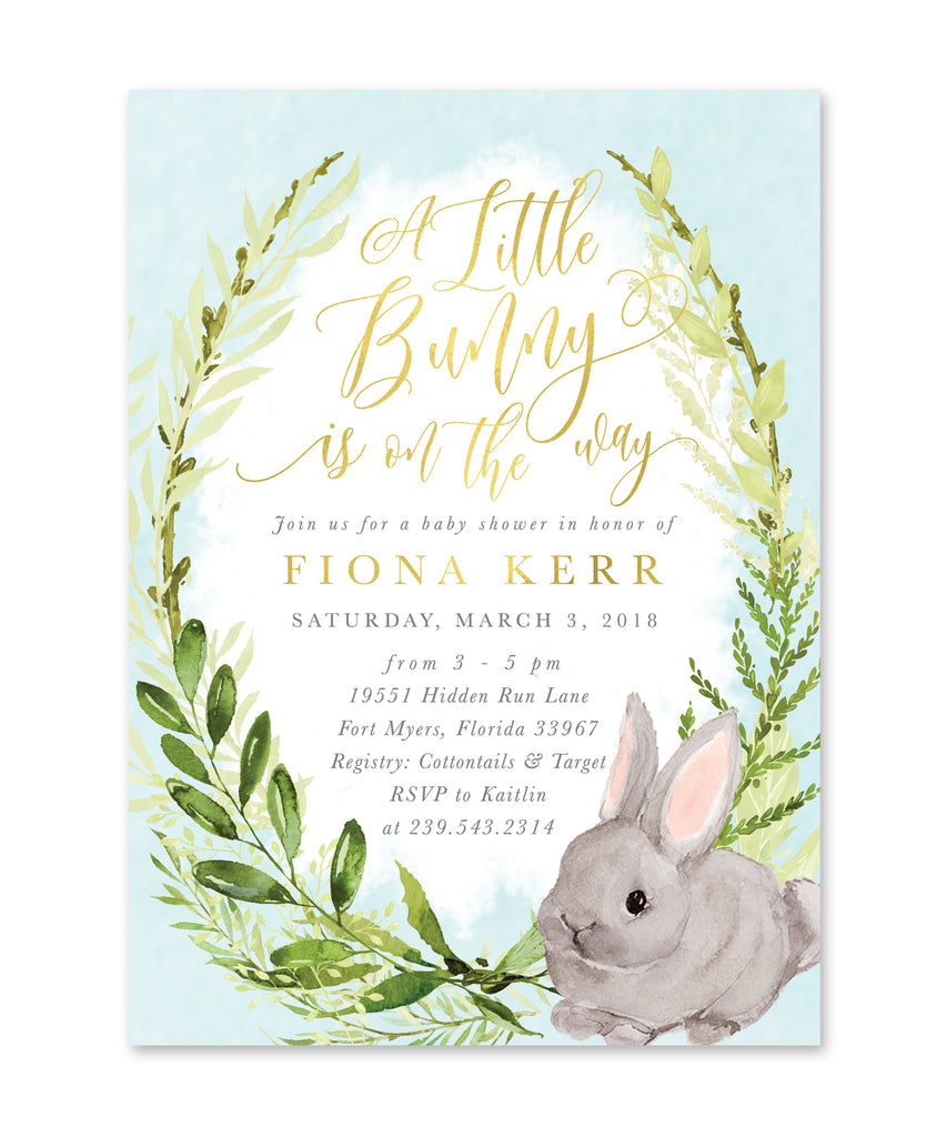 Fiona: Boy Bunny On The Way Greenery {Blue}