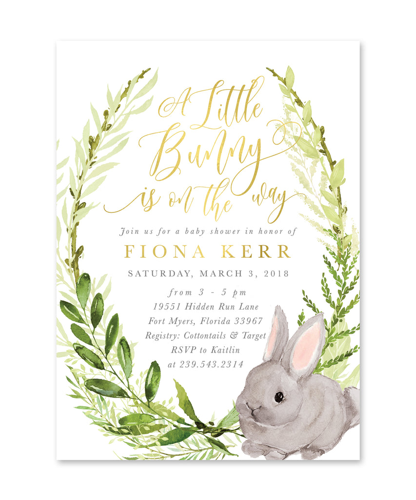 Fiona: A Little Bunny Is On The Way Baby Shower {White}
