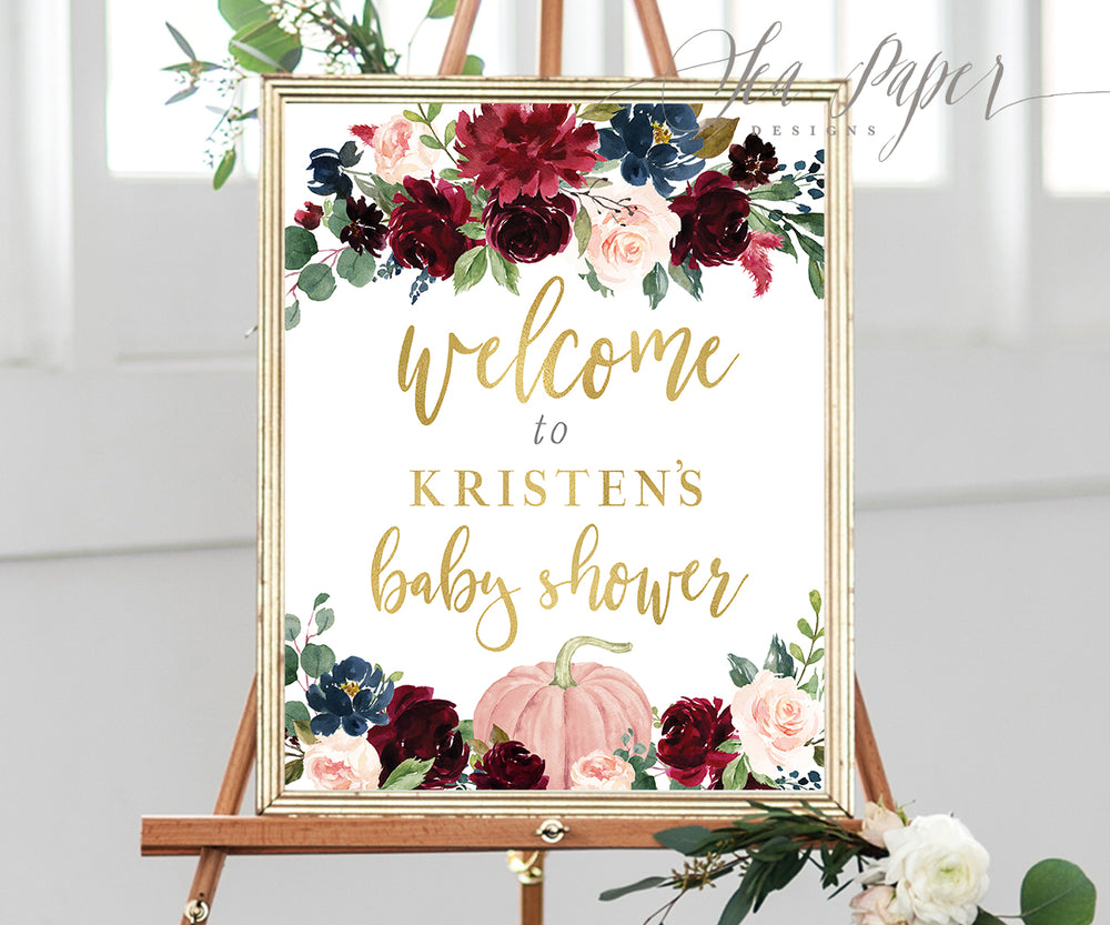 Kristen: Welcome Sign {Navy Pumpkin}