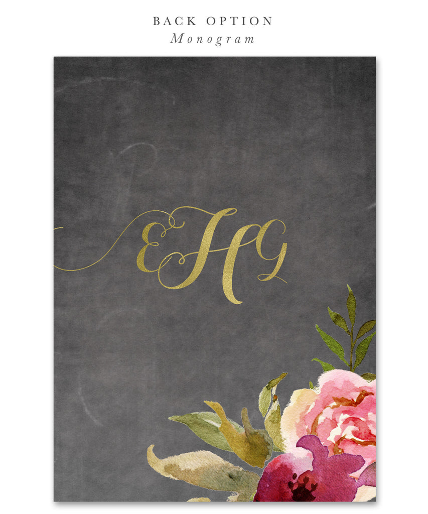Etta: Girl Birthday Party Invitation {Merlot & Blush Pink & Gold Chalkboard Floral}