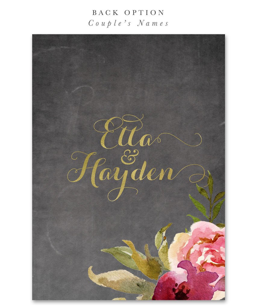 Etta: Bridal Shower Invitation {Burgundy, Blush Pink & Gold Chalkboard Floral}