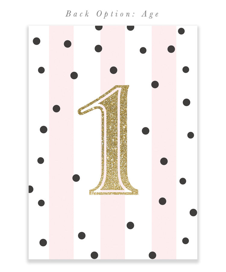 First birthday invitation: girl, pink, black, gold, white