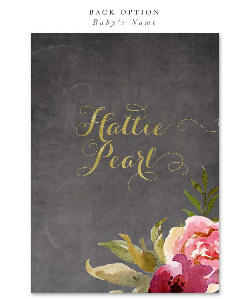 Etta: Baby Shower Invitation Back Baby Name {Merlot & Blush Pink & Gold Chalkboard Floral}