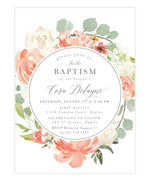 Cora: Girl Baptism Invitation, Blush & Peach Garden Florals