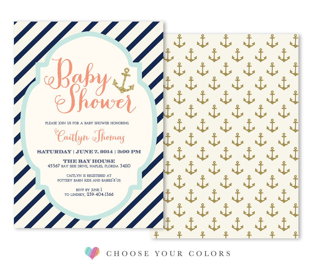 Bay: Nautical Baby Shower Invitation: Navy Stripes & Gold Anchors