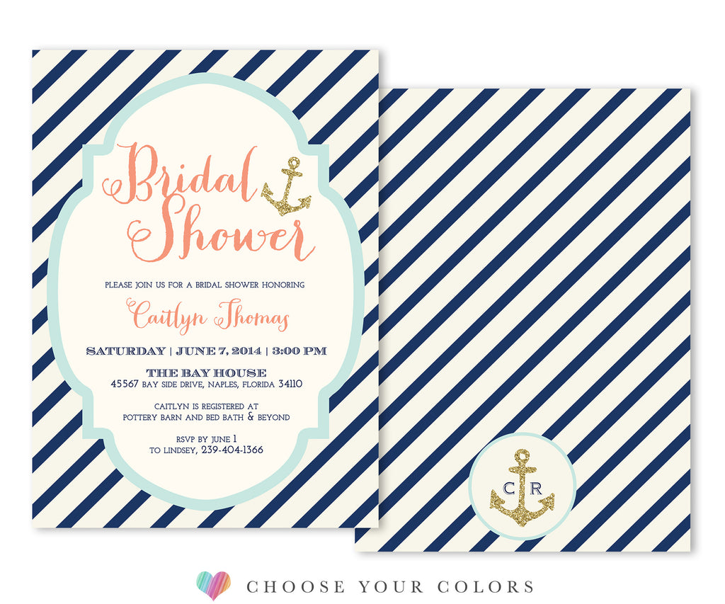 Bay: Nautical Bridal Shower Invitation: Navy Stripes & Gold Anchors