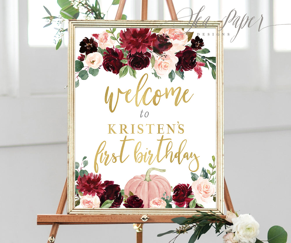 Kristen: Welcome Sign {Burgundy Pumpkin}