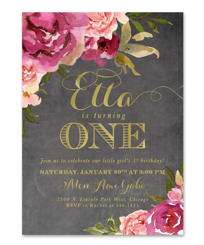 Etta: Girl First Birthday Party Invitation {Merlot & Blush Pink & Gold Chalkboard Floral}