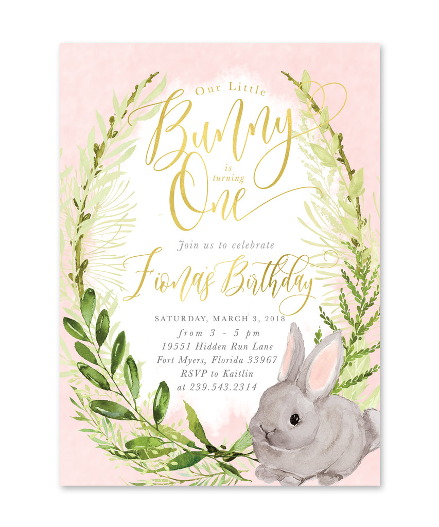 Fiona: Girl Little Bunny Is Turning One {Pink}
